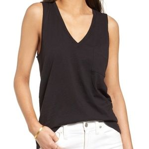 Madewell Whisper Cotton Black V-Neck Tank Size S
